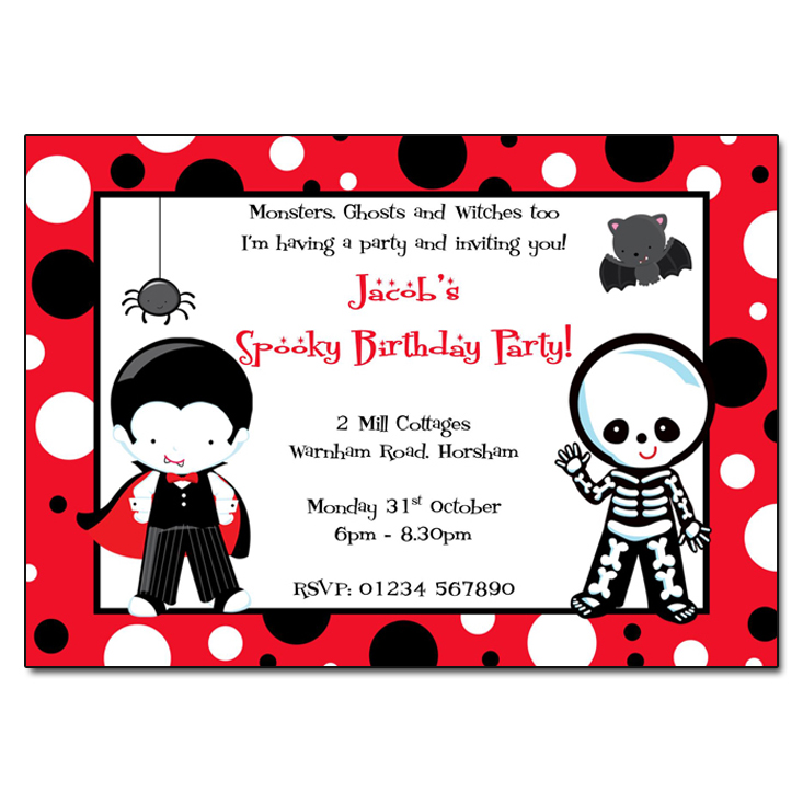 Halloween Party Invitations - Dracula & Skeleton