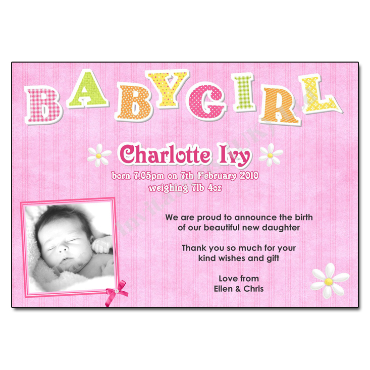 Baby Girl Birth Announcement Thank You Card – How to Announce Baby Girl