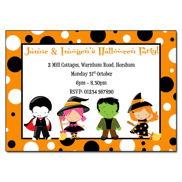 Halloween Party Invitations - Childrens Fancy Dress