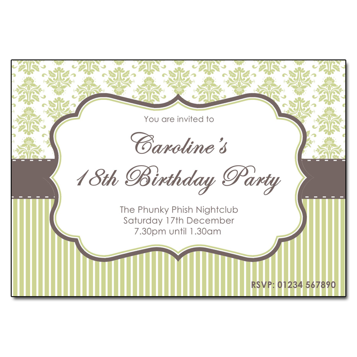 Chocolate & Lime - Damask Vintage Party Invitations