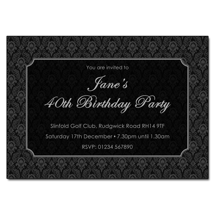 Black Damask - Damask Vintage Party Invitations