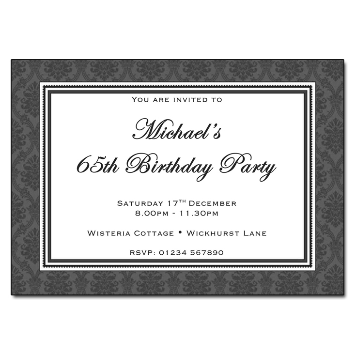 Charcoal Damask - Damask Vintage Party Invitations