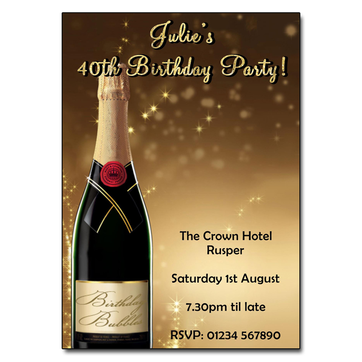 Gold Champagne Birthday Party Invitations