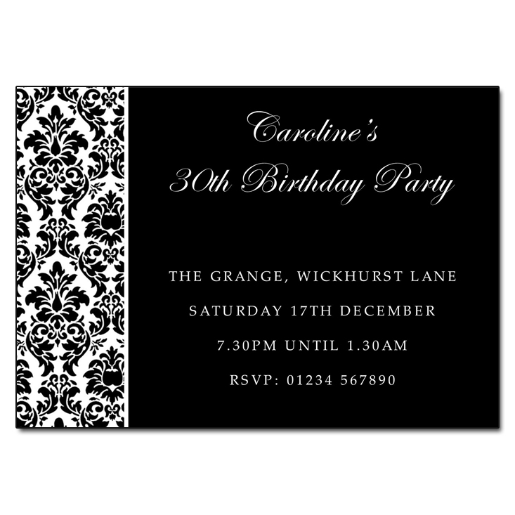 Black & White Damask - Damask Vintage Party Invitations