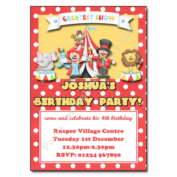 circus party invitation personalised party invites