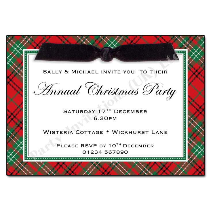 Red Tartan Christmas Party Invitation | Christmas Invitations