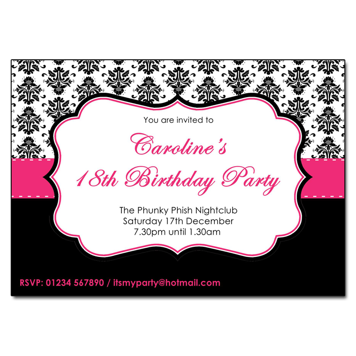 Pink & Black - Damask Vintage Party Invitations