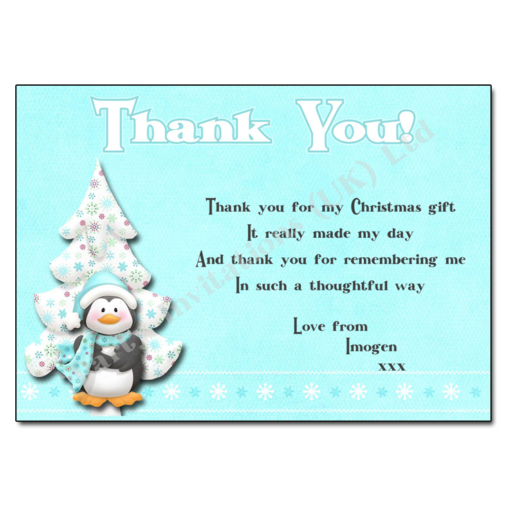 Quotes About Christmas Gifts: Penguin Christmas Thank You Note