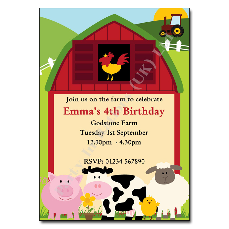 farm party invitation children s party invitation