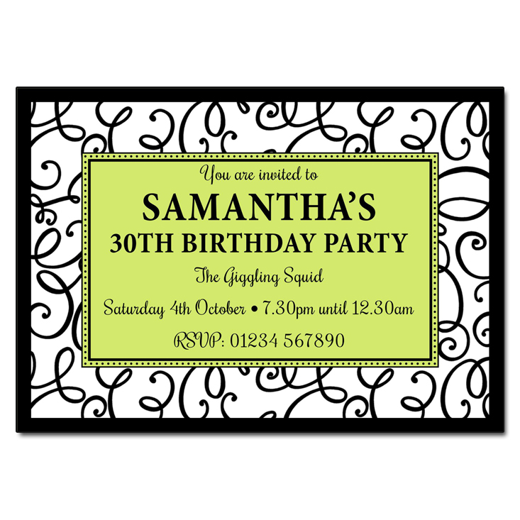 Black & White Swirls - Damask Vintage Party Invitations