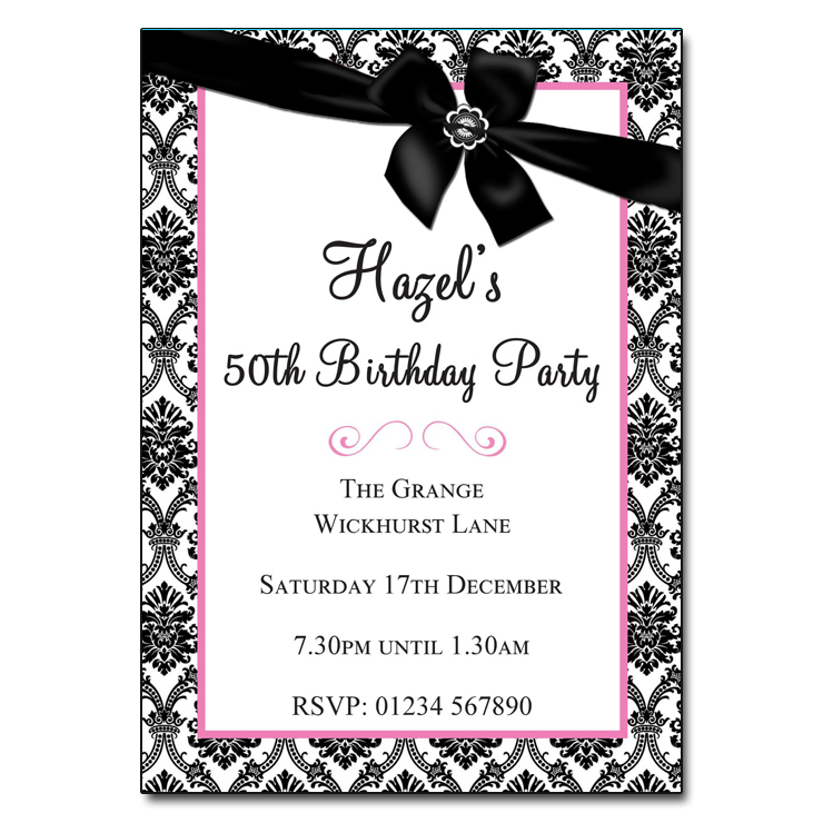 Black & White with Ribbon - Damask Vintage Party Invitations