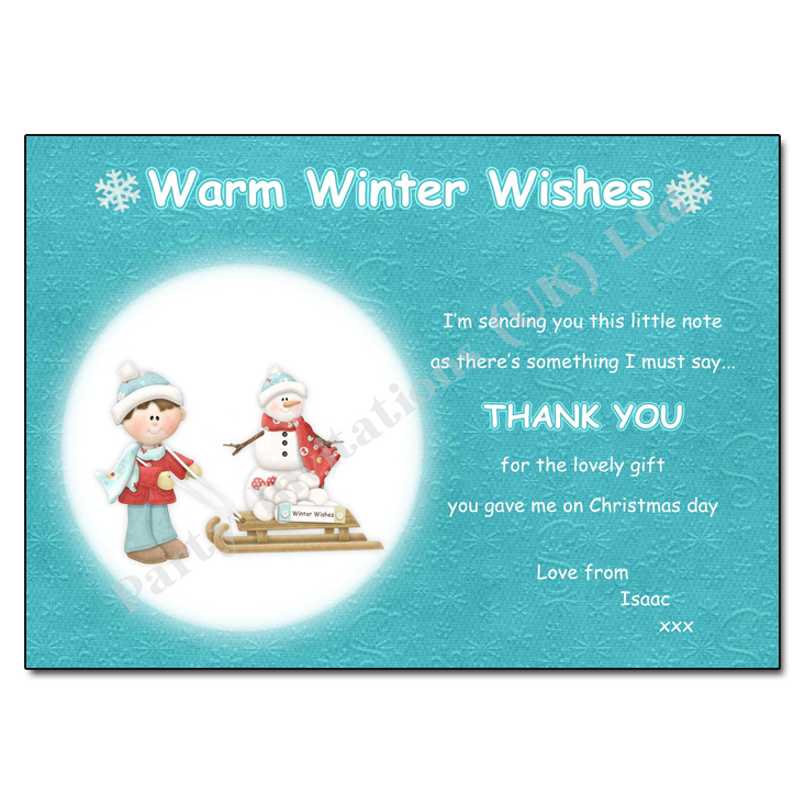 Winter Wishes Christmas Thank You Note
