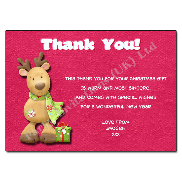 Reindeer Christmas Thank You Note