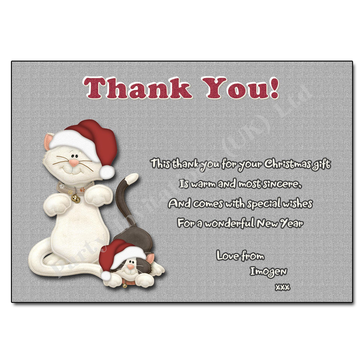 Purr-fect Christmas Thank You Note