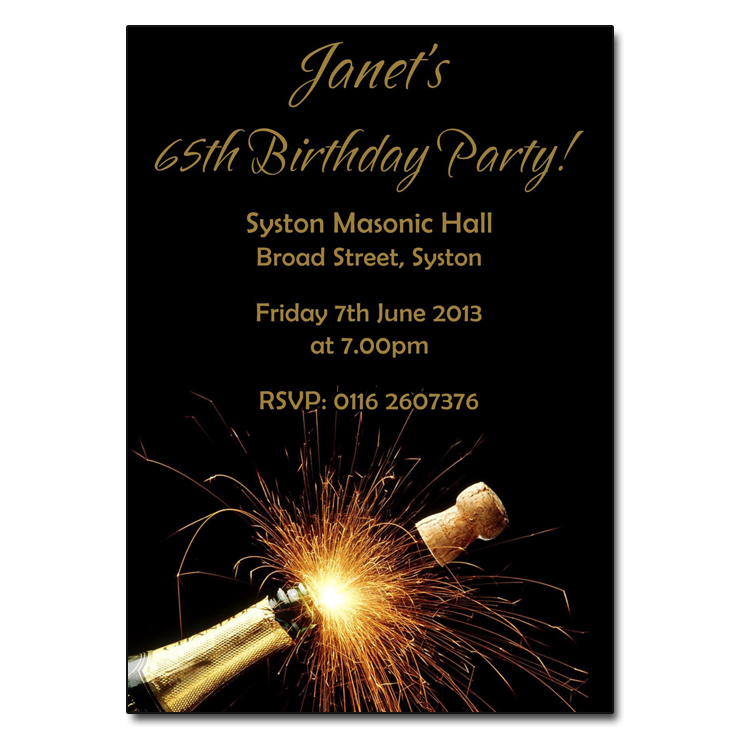 Sparkling Champagne Birthday Party Invitations