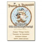 4 Pirate & Princess - childrens party invitation