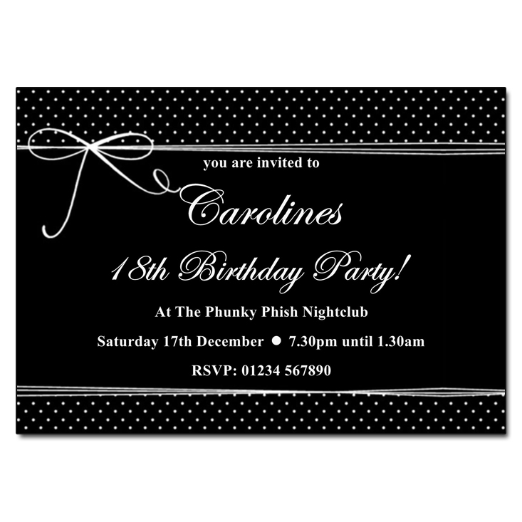 Black & White Polka Dot Party Invitations