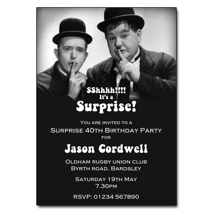 Laurel & Hardy - Surprise Party Invitations
