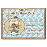 5 Pirates Land ahoy - childrens party invitation