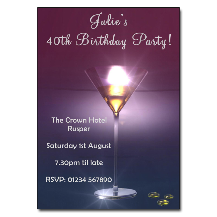 Purple Cocktail Party Invitations