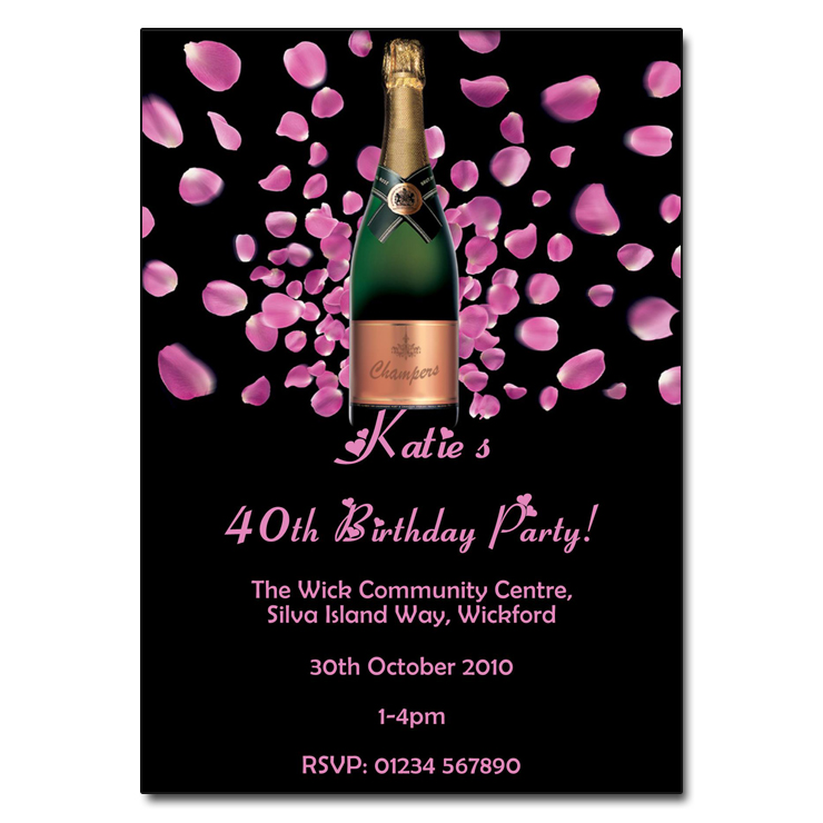 Pink Champagne Party Invitation Birthday Party Invite