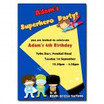 7 Superhero - childrens party invitation