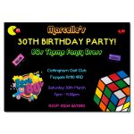 80s Black Retro New Party Invitation