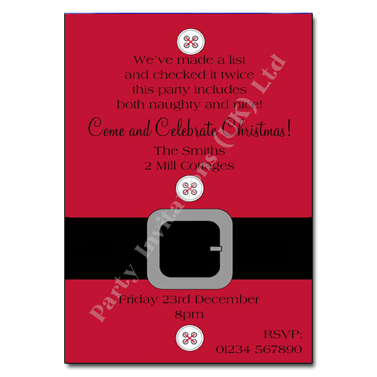 Santa Suit Christmas Party Invitation | Christmas Invitation