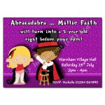 9 Magic with girl - childrens party invitation