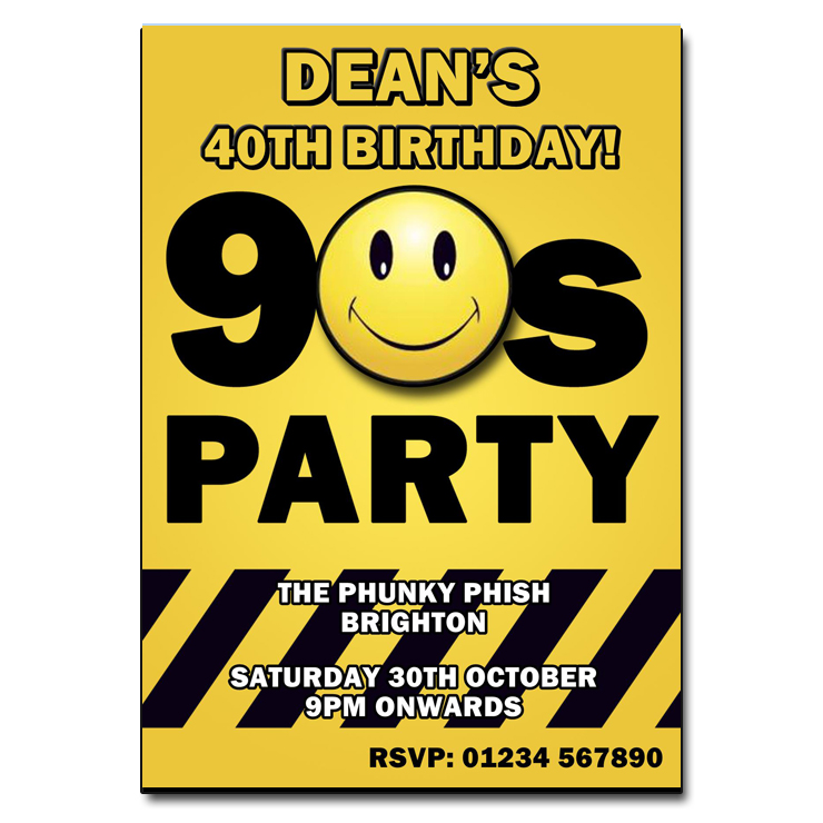 90s Party Invitation – Personalised Party Invites