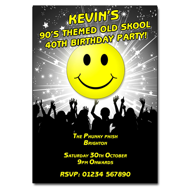 90s old skool party invitations