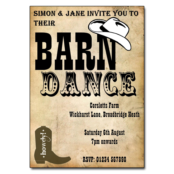 Barn Dance Themed Party Invitations