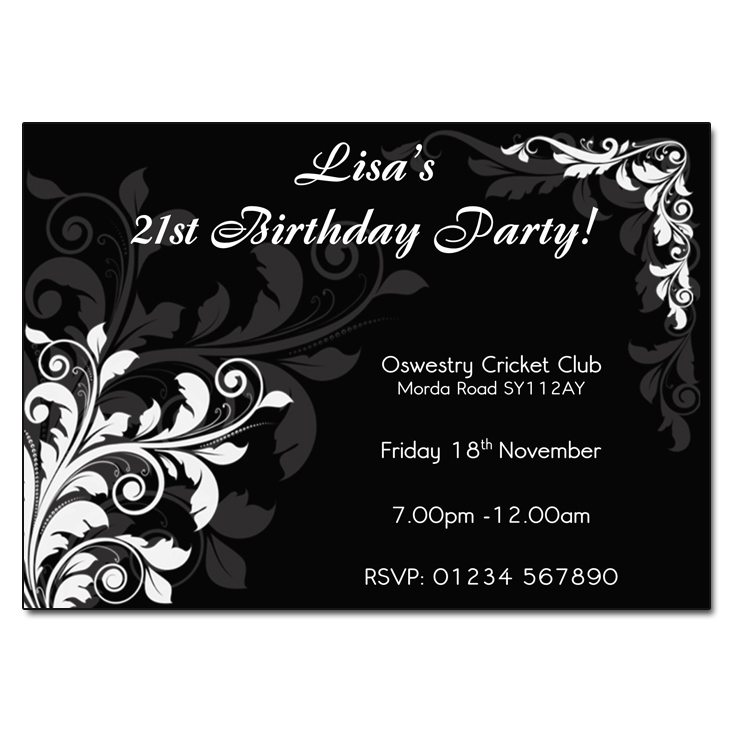 Black & White Floral - Party Invitations