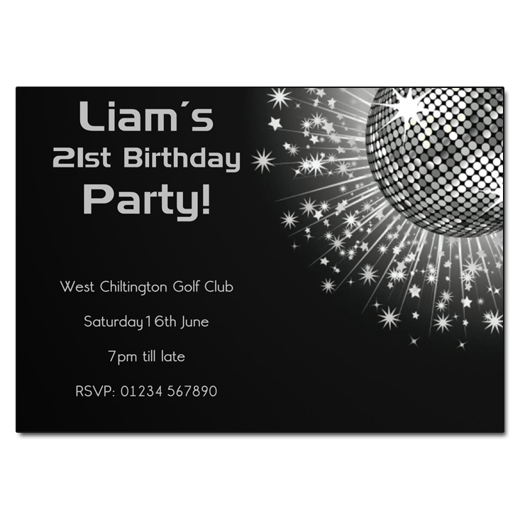Black & White Mirror Ball - Disco Party Invitations
