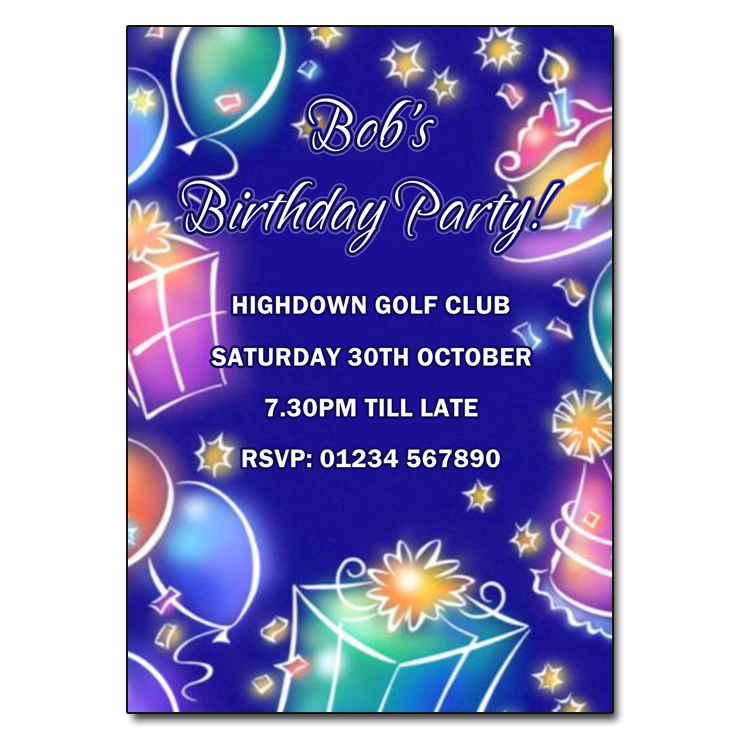Blue Balloons Birthday Party invitations