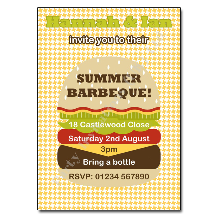 Burger party invitation