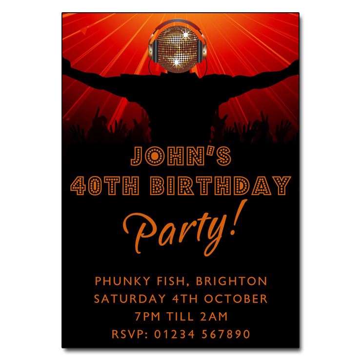 Disco DJ Party Invitations