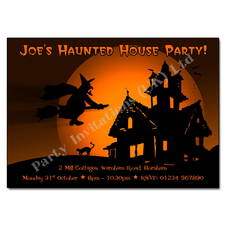 Flying Home Witch Halloween Invitation