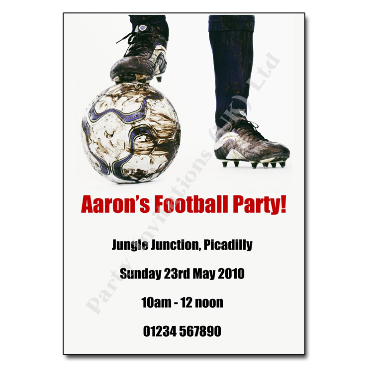 Football party invitation childrens party invites football childrens activity party invitations stopboris Image collections
