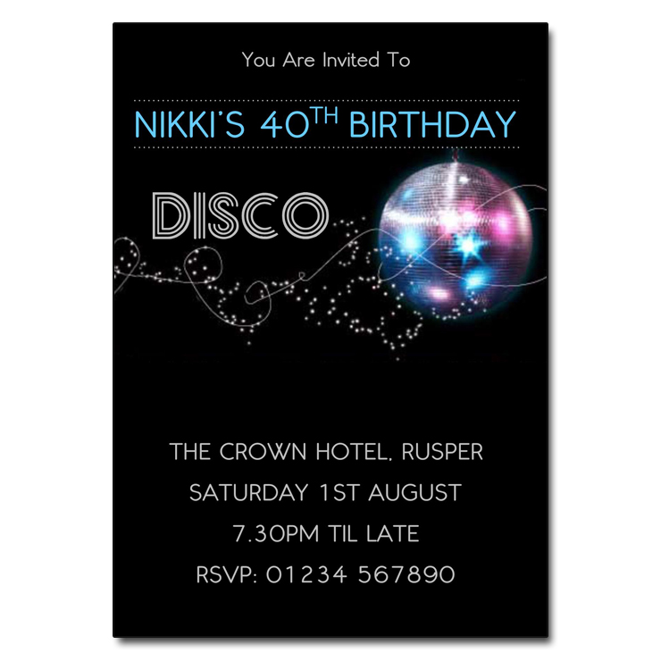 Glitter Ball Blue - Disco Party Invitations