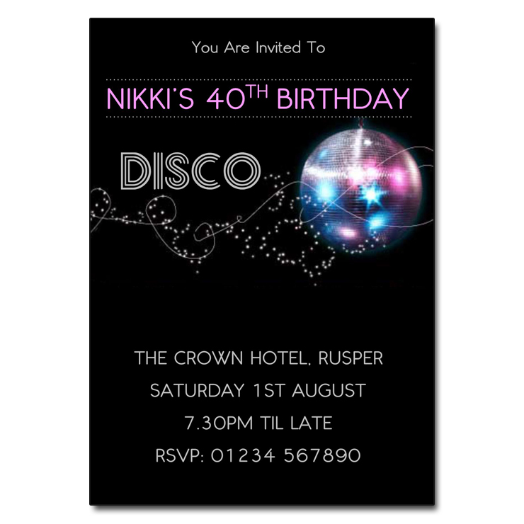 Glitter Ball Pink - Disco Party Invitations