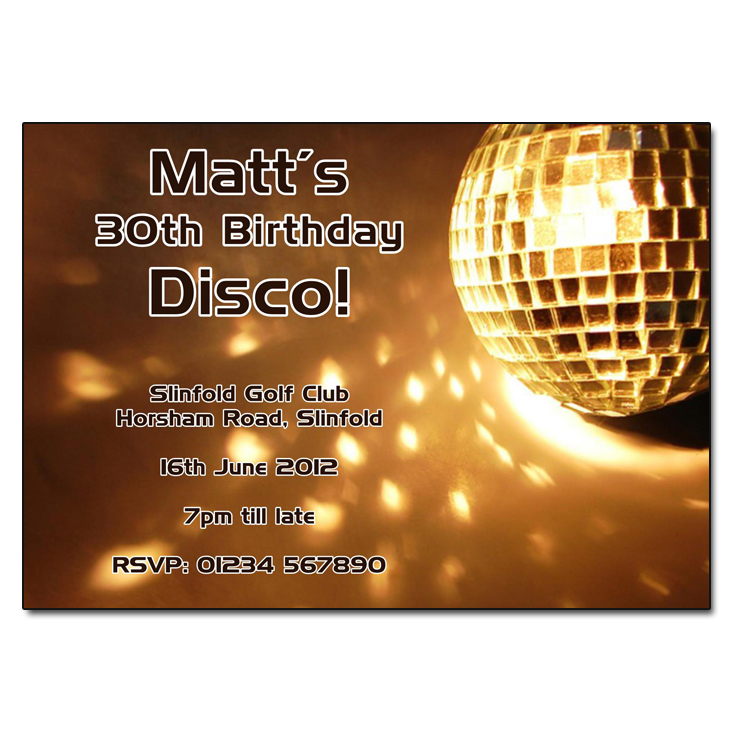 Gold Disco Ball - Disco Party Invitations