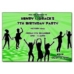 Green Disco - Childrens invitations