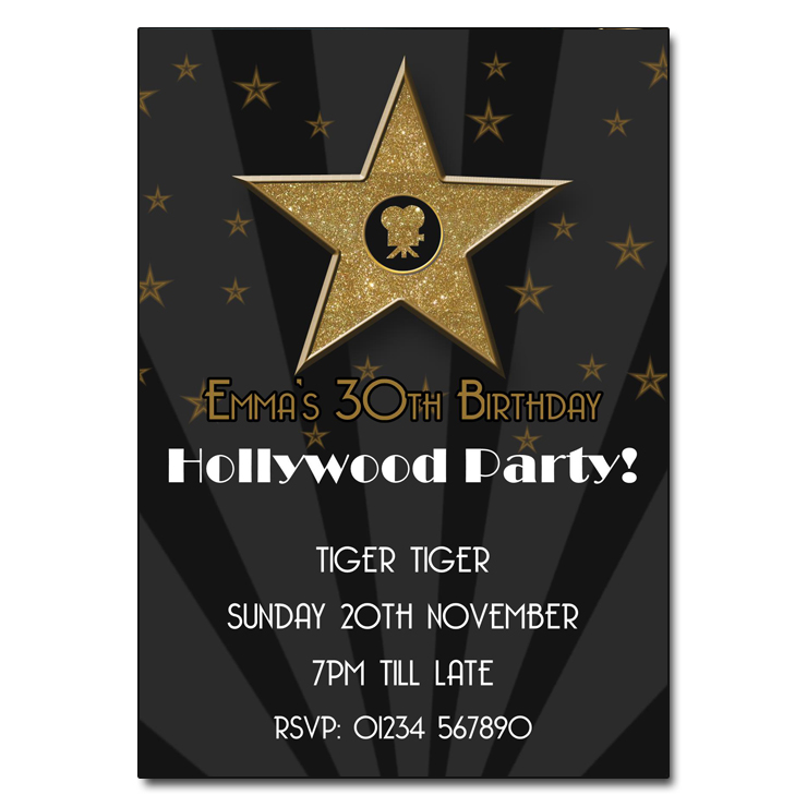 Hollywood Themed Party Invitations