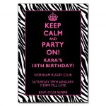 Keep Calm and Party On Zebra Border Invitations