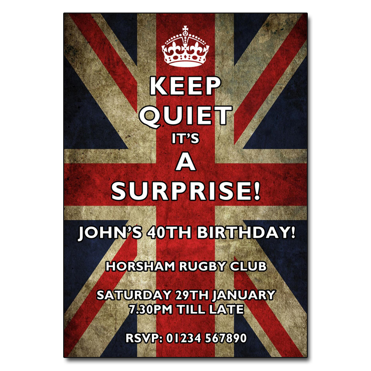 Keep Quiet Union Jack - Surprise Party Invitations