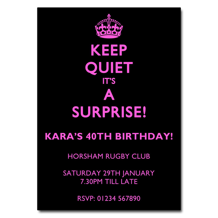 Keep Quiet Pink on Black - Surprise Party Invitations