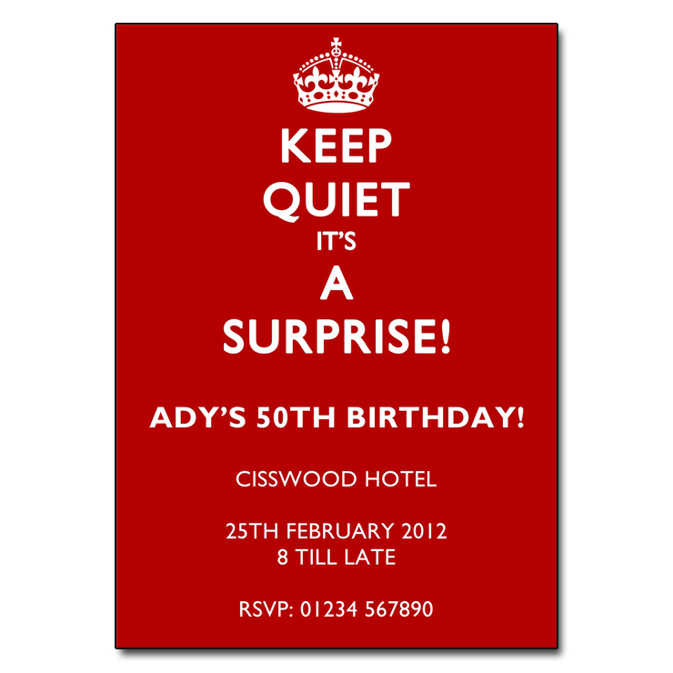 Keep Quiet White on Red - Surprise Party Invitations