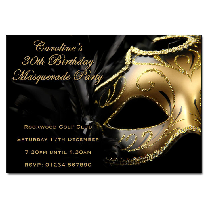 Masquerade Themed Party Invitations