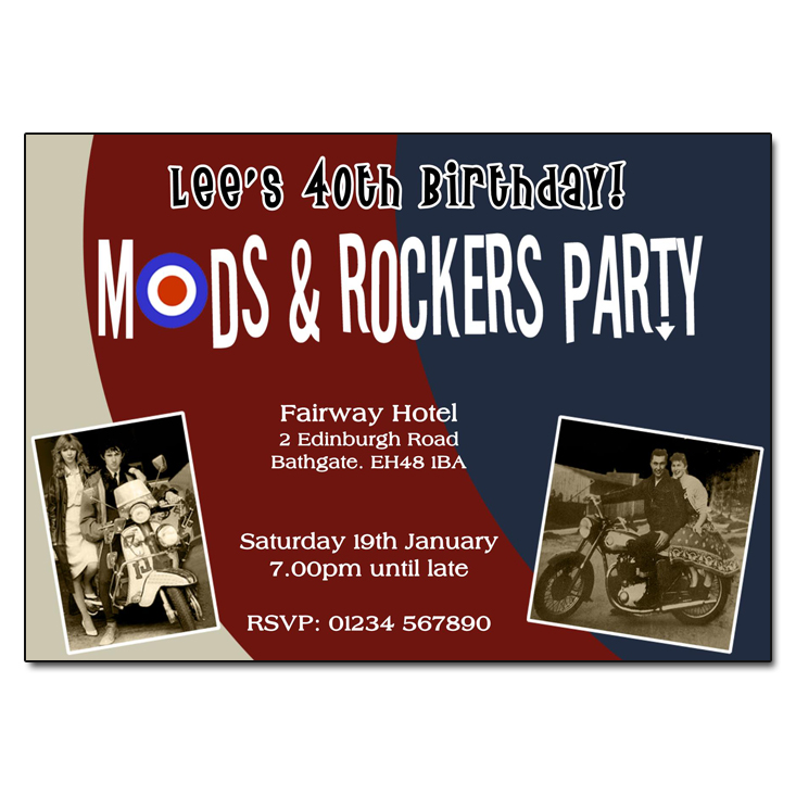 Mods & Rockers Themed Party Invitations